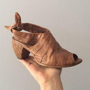 Anthropologie tie back leather wooden heels